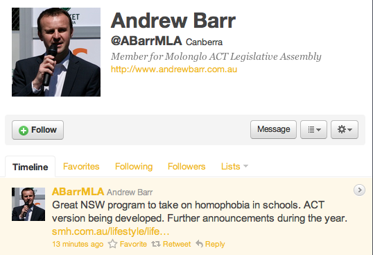 Andrew Barr Twitter Feed