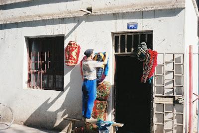 織物屋の店先
