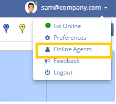 Go to agent panel to see online live chat agents