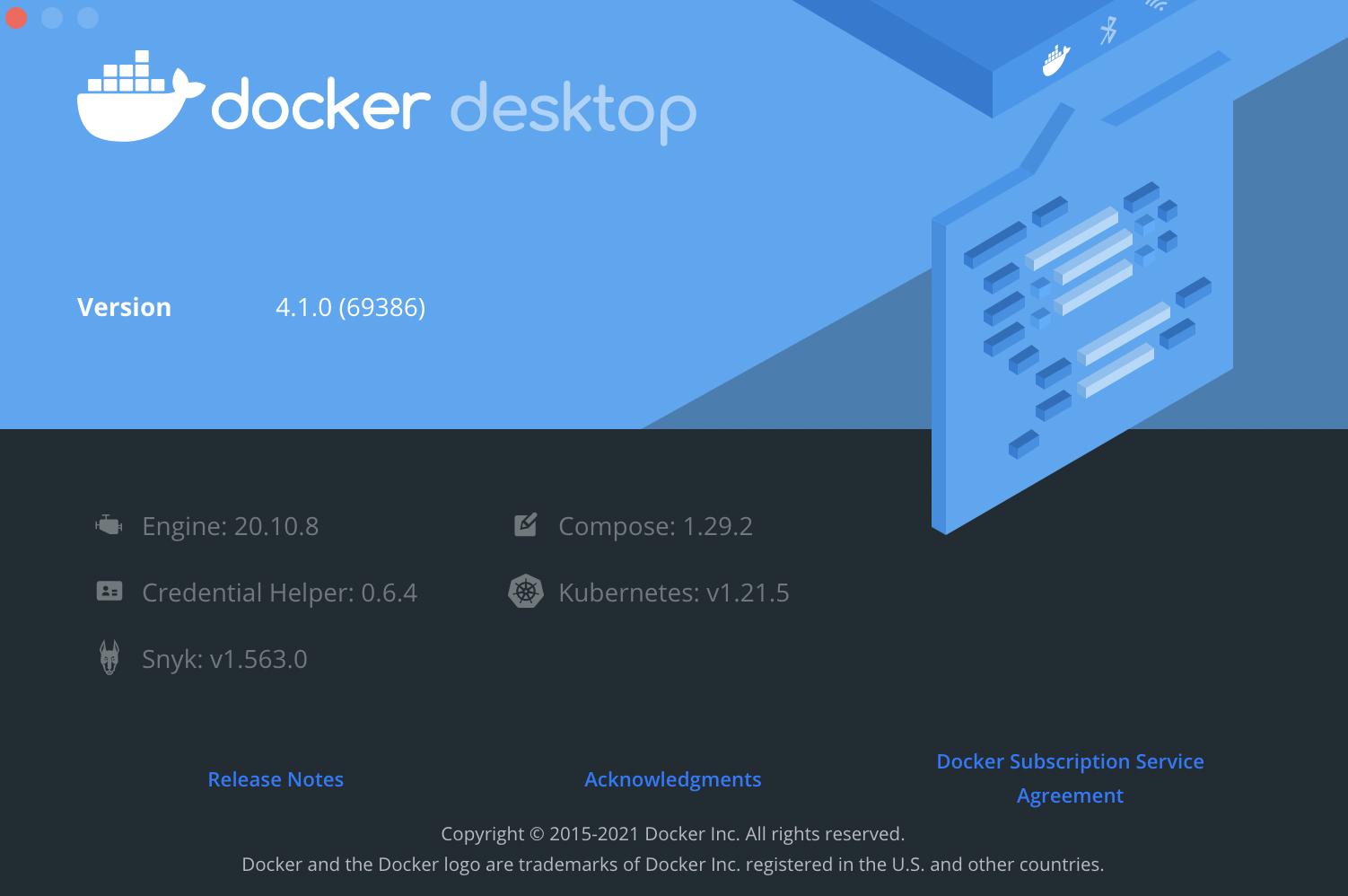 Screenshot of Docker Desktop showing versions of the components