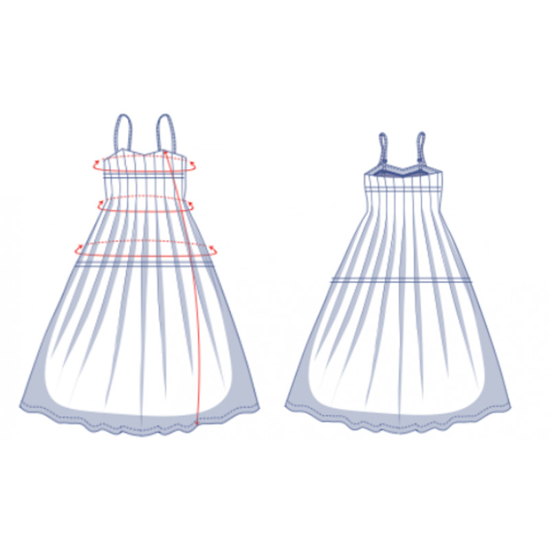 Line drawing of a dress with a pleated bodice, full skirt and thin straps.
