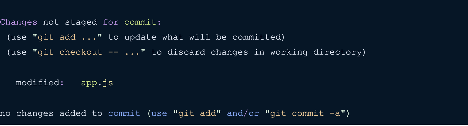 git status changes not staged for commit