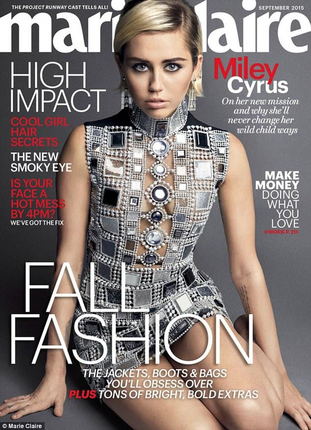 Shining star: Miley features on the cover of Marie Claire for its September issue which hits newsstands August 18