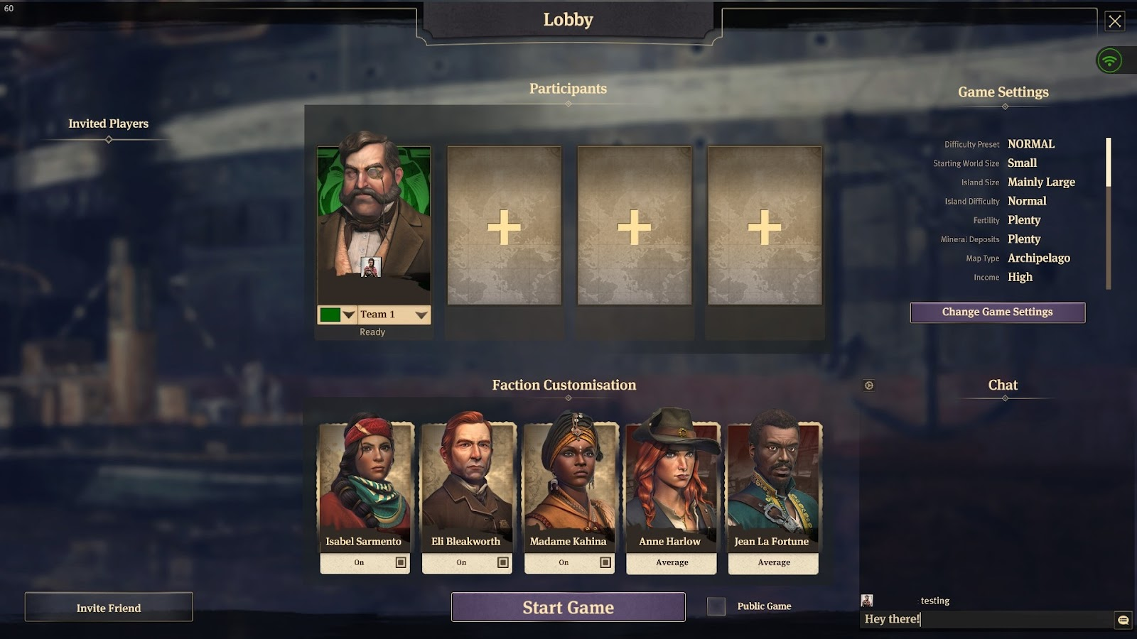 Multiplayer lobby with the portraits of players, world preferences and the text chat window