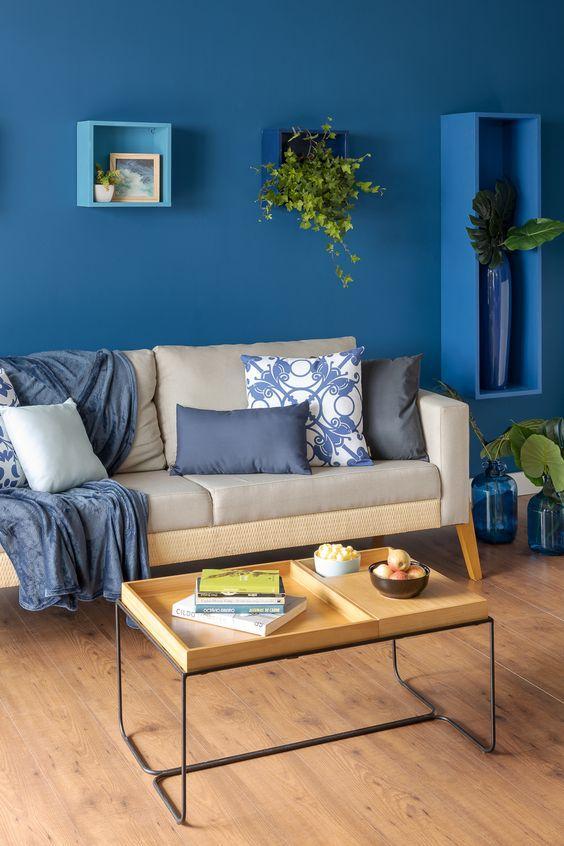 Sala pintada de azul, com nichos e vasos de planta azuis, sofá cinza e almofadas brancas e azuis e mesa de centro marrom.