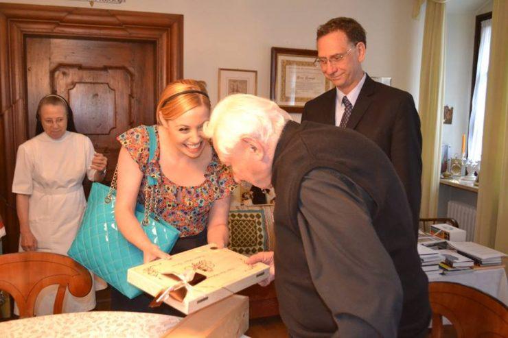 ZENIT Correspondent Deborah Castellano Lubov Meets Georg Ratzinger at Home in Regensburg - PHOTO of Michael Hesemann