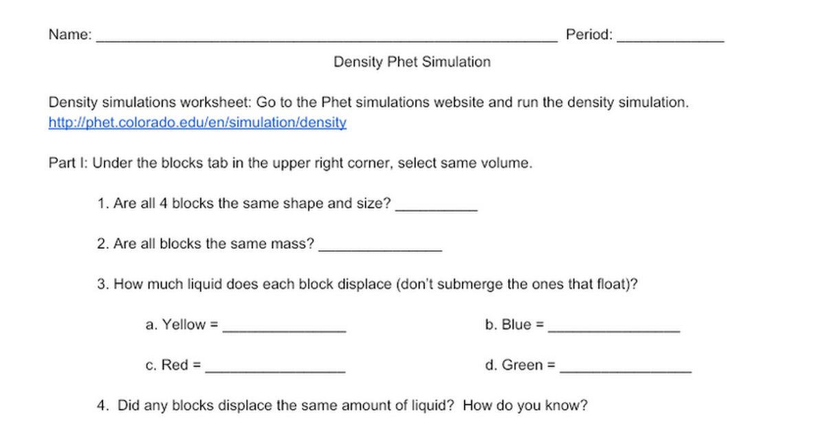 Phet Density Worksheet Doc phet density worksheet doc related to – Density Worksheet