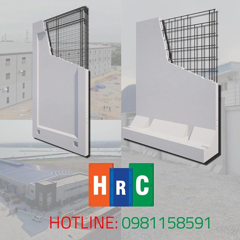 Tấm tường bằng tấm bê tông cốt thép sử dụng bê tông cốt thép cường độ cao (40Mpa)