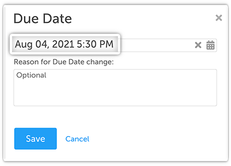 Due Dates with Times