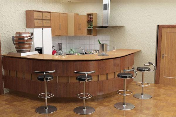 Quầy bar gia đình thiết kế dạng vòng cung