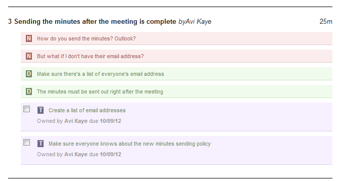 This is what minutes written with MeetingKing and sent via email look like
