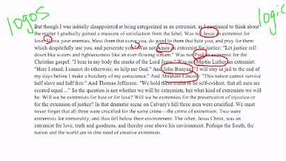 Rhetorical analysis essay for letter from birmingham jail