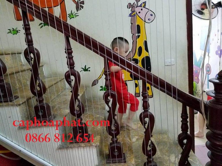 Lưới an toàn cầu thang được lắp tại nhà trẻ tư thục