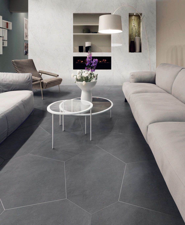 Concrete-look irregular hexagon tile flooring