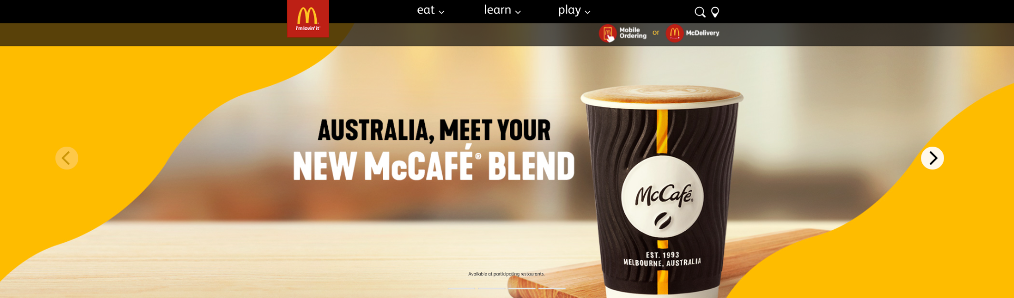 Snapshot of McDonalds homepage showing a coffee made by McCafé