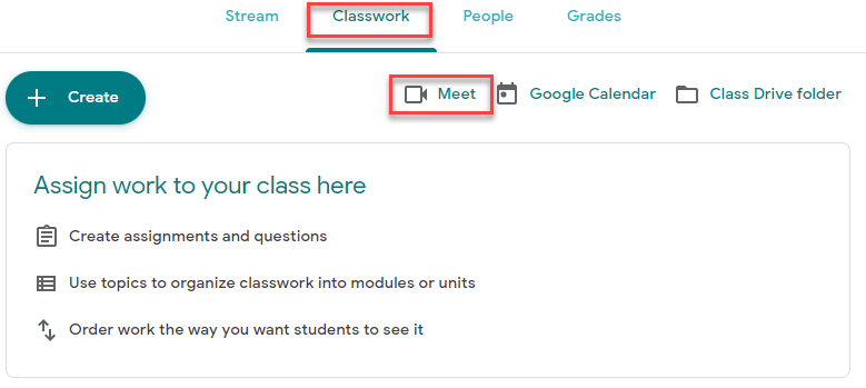 Students can join a meet using by going to the Classwork tab and clicking the Meet icon.