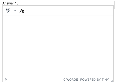 An editor window for defining the answer to a question with a spell checker option and an option to expand the toolset.