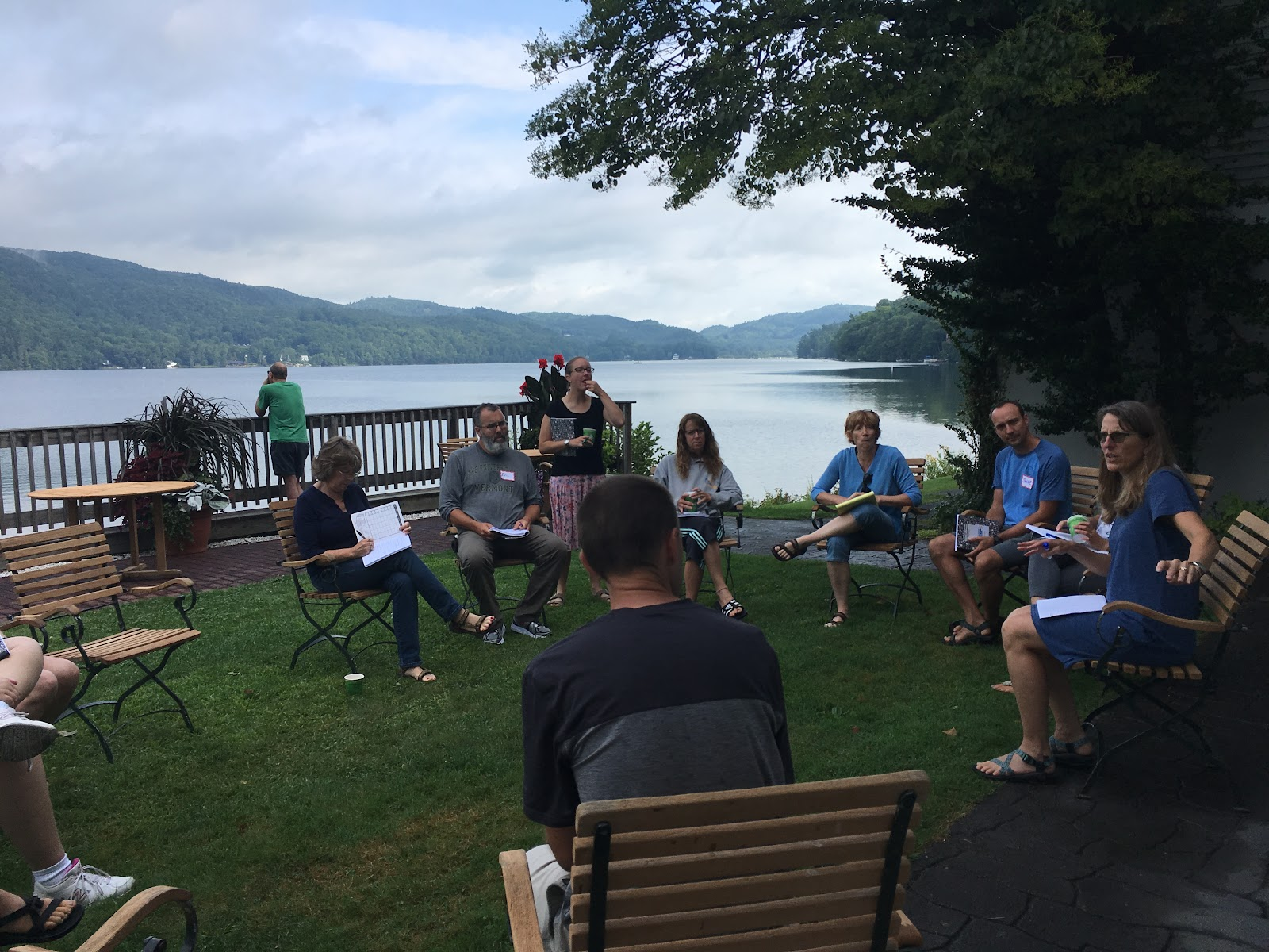 Summer Institute Participants work near the lake