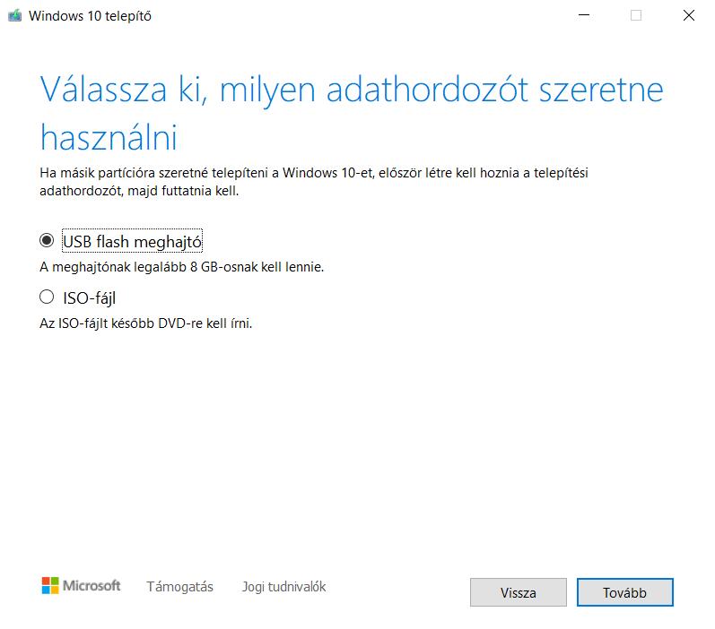 Windows 10 telepítő másolása pendrivera