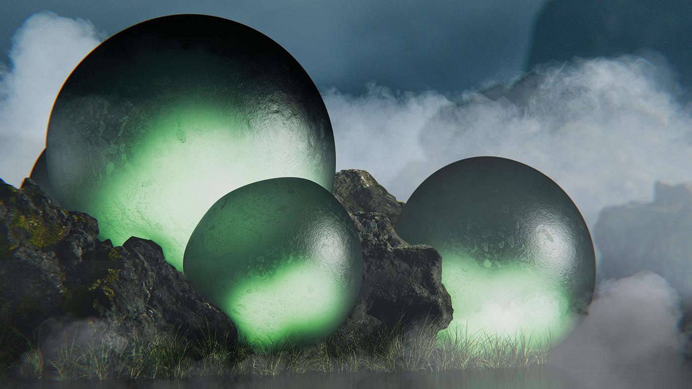 3d render abstract cinema 4d concept environment landscape render redshift
