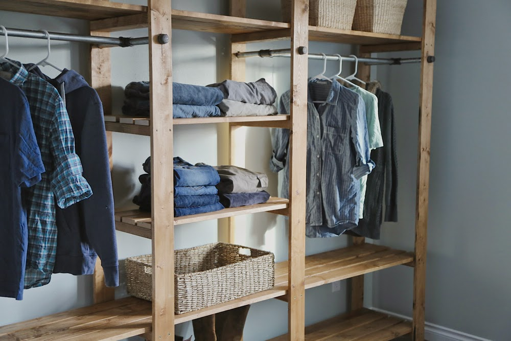 Do It Yourself Home Design: Industrial Style Wood Slat Closet System With