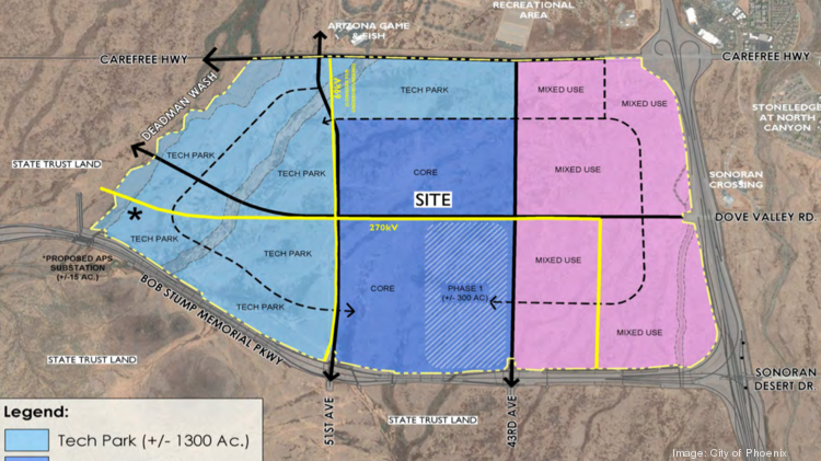 An aerial map shows a large swath of state land that the city of phoenix is aiming to prime for an employment corridor.