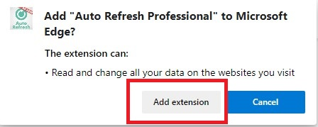 """By pressing the """"Add extension"""" button, you can confirm your download"""
