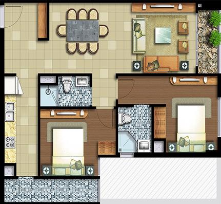2 phòng ngủ 82 m²