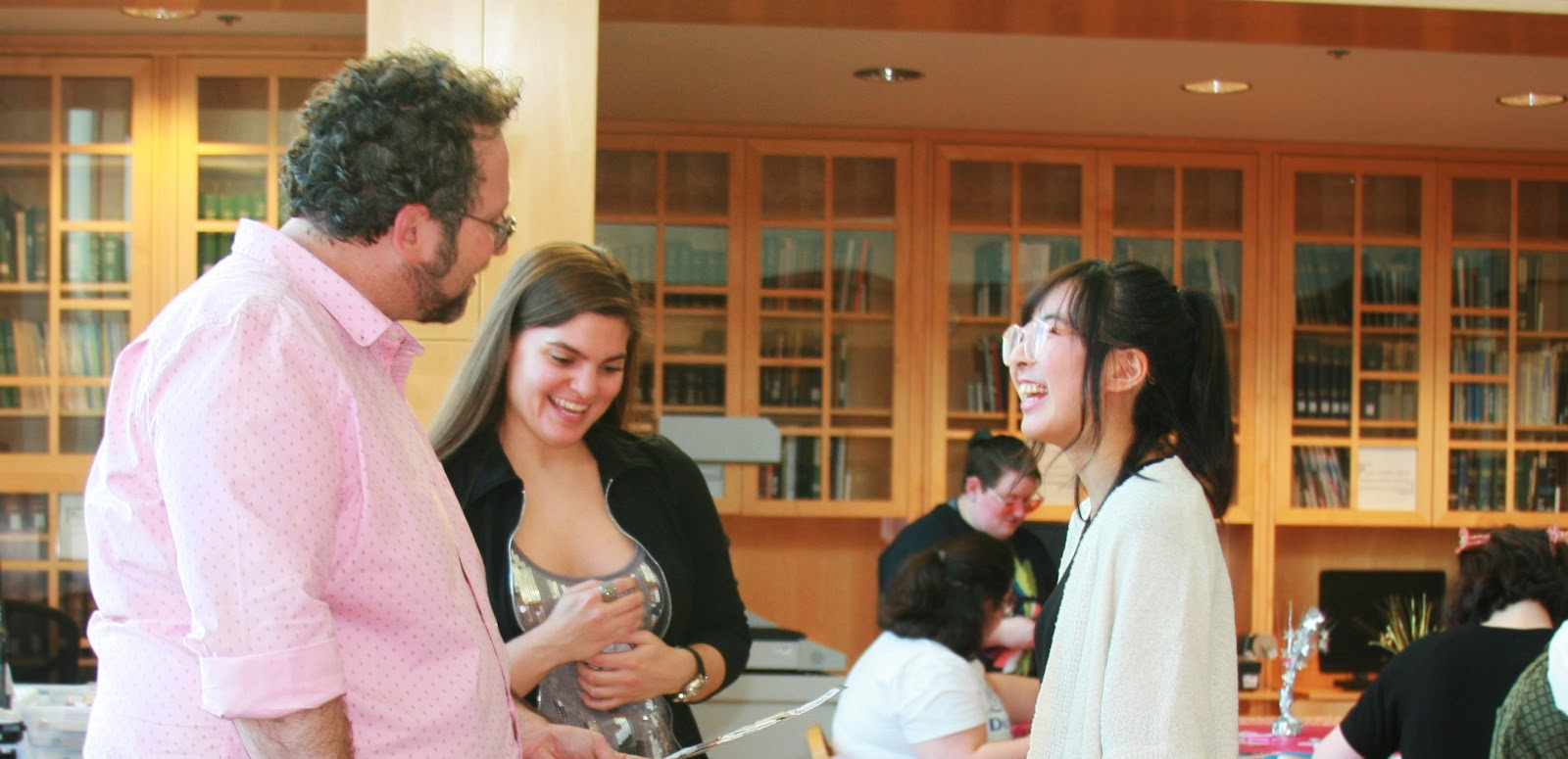 Associate Professors Bradley Boovy and Natalia Fernández with undergraduate student Julia Kim