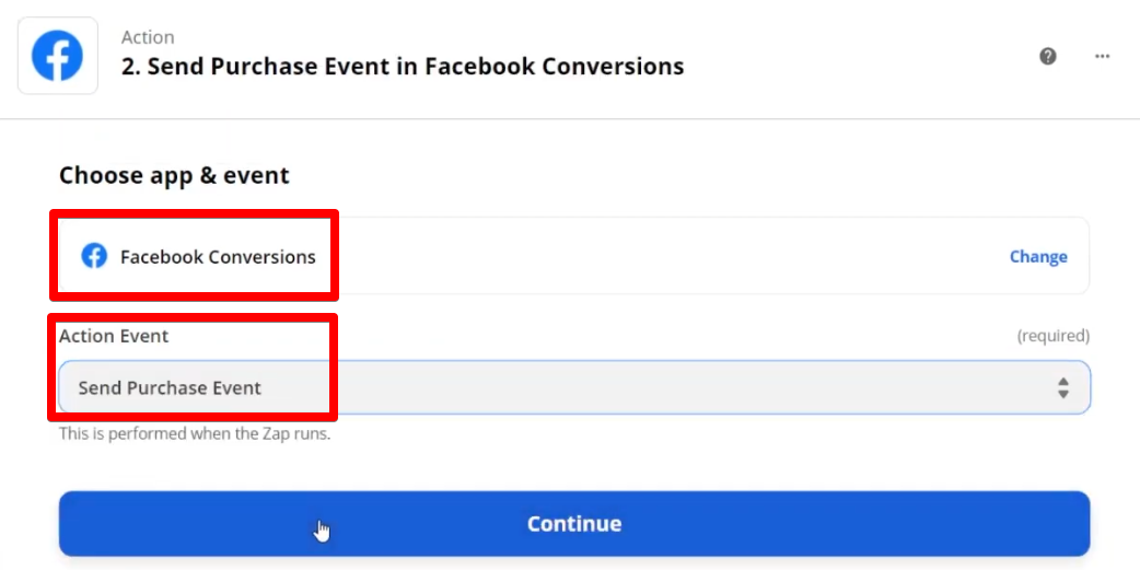 Selecting Facebook Conversions as the app event and Send Purchase Event as action event which Zap performs after it starts