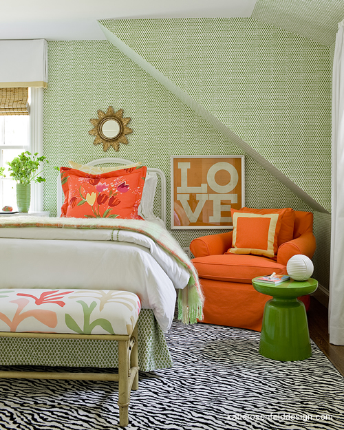 Go Bright with An Orange and Soft Shade of Green Bedroom