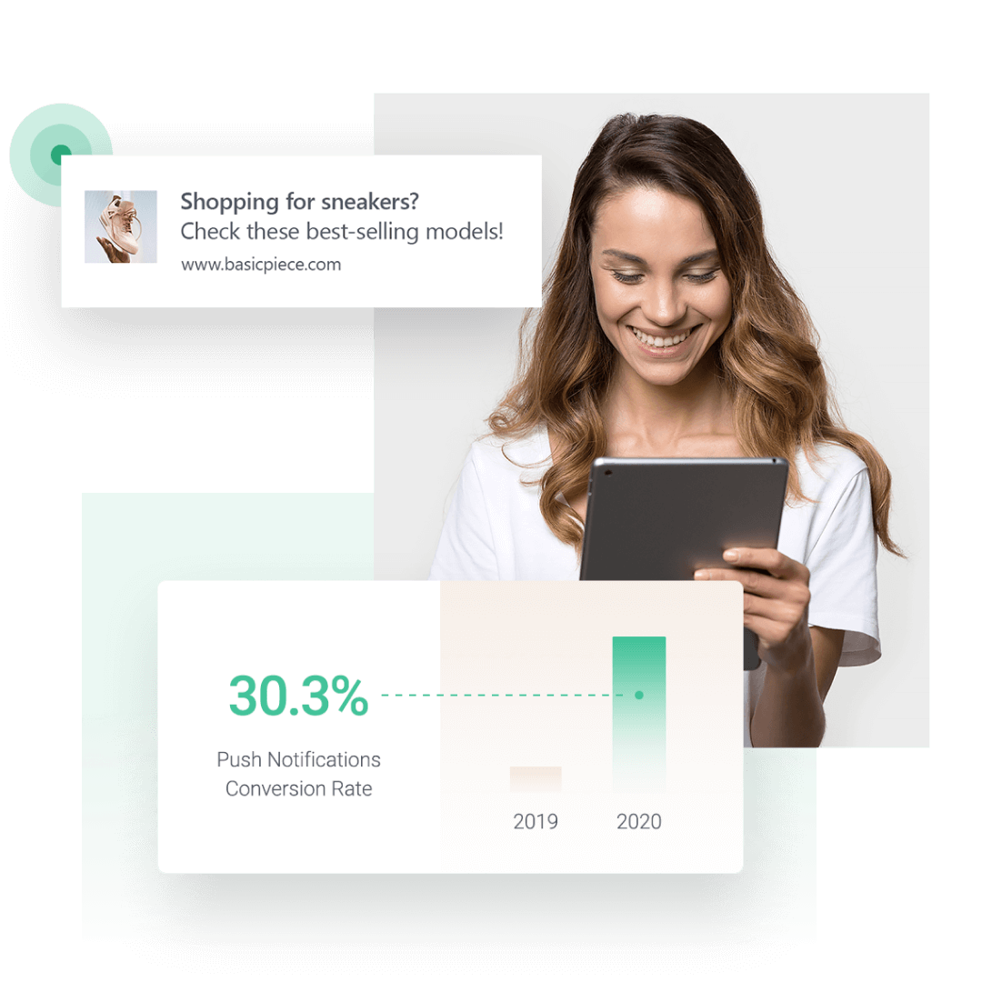 Image showing 2020 web push notifications conversion rate increase over 2019