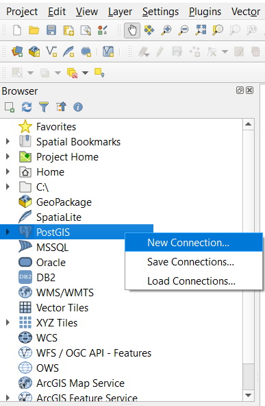 """Browser panel in QGIS, with PostGIS highlighted and a context menu opened containing a """"New Connection"""" option"""