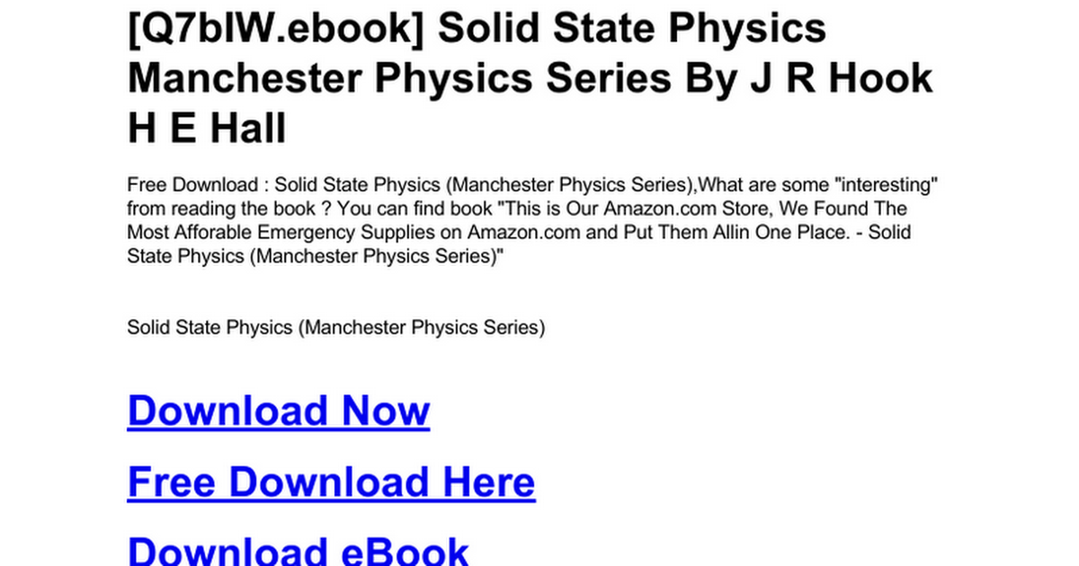 Solid State Physics Ebook Free Download