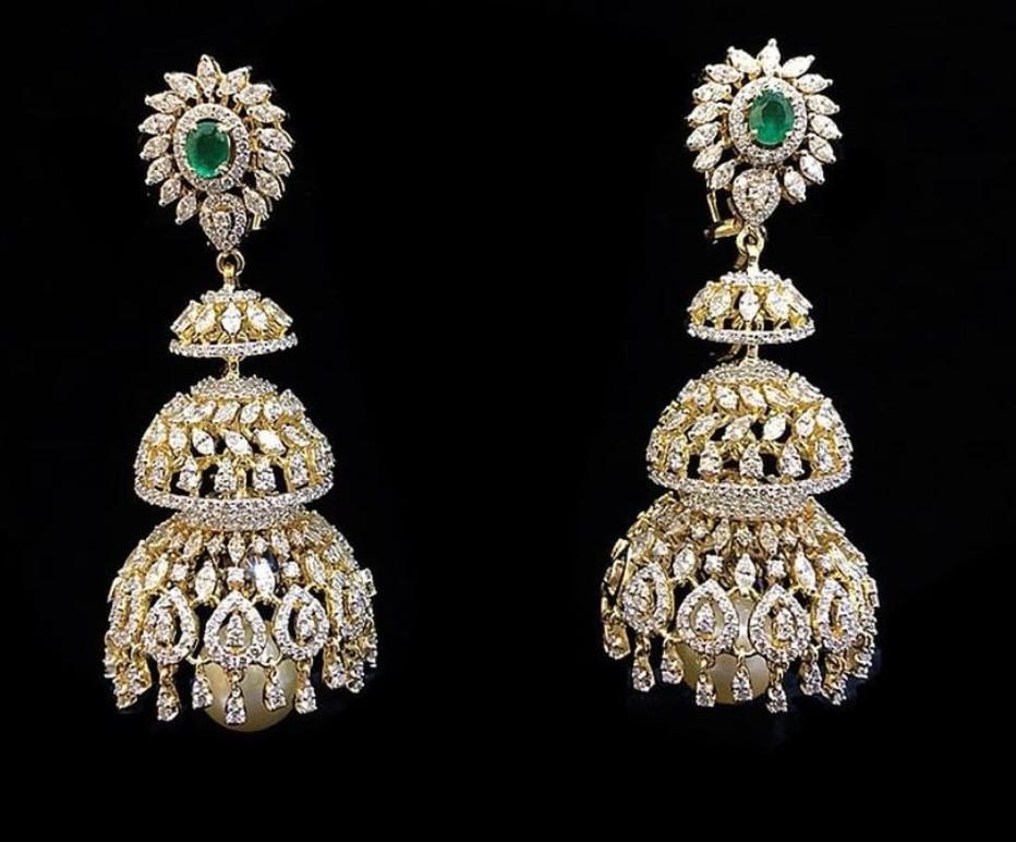 Unique Diamond Jhumkas by Amarsons