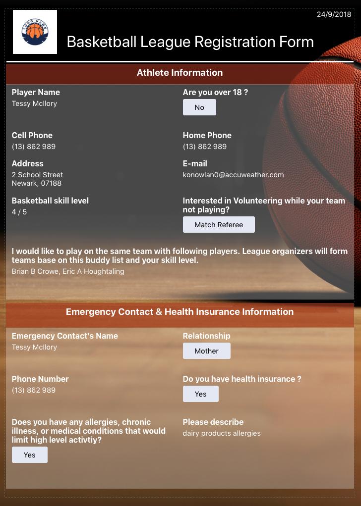 basketball league registration