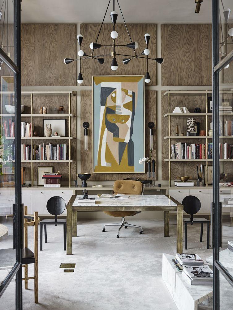 modern home office wood oversized lighting abstract art ideas inspiration