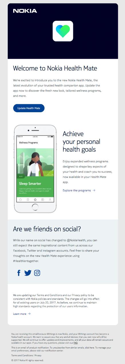 Nokia fitness app example