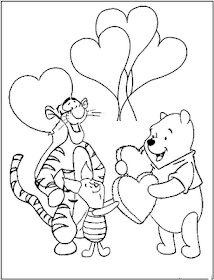 Tiger and friend are valentine coloring page