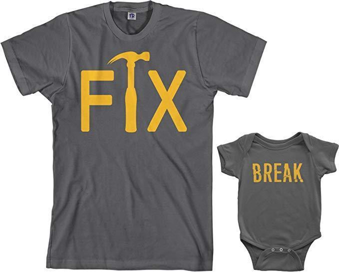 Threadrock's Fix & Break Infant Bodysuit & Men's T-Shirt Matching Set