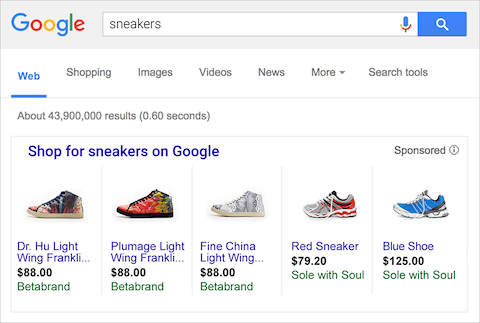 An image of examples of Google shopping ads