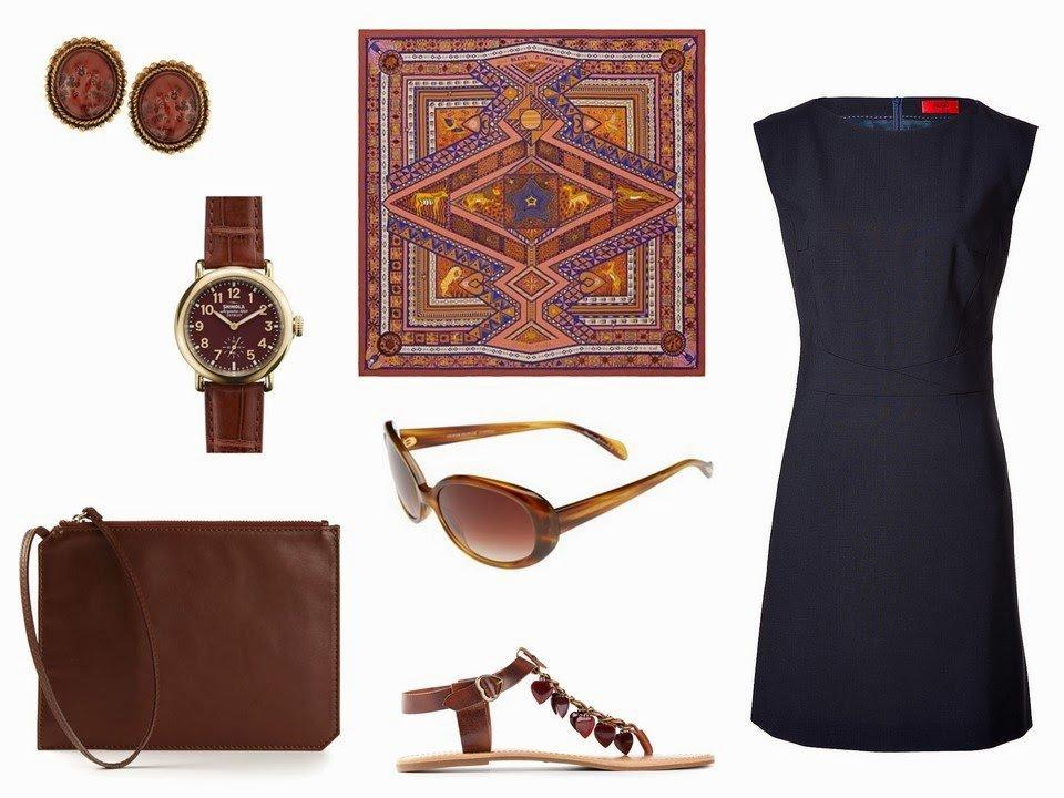 navy dress with brown, copper accessories