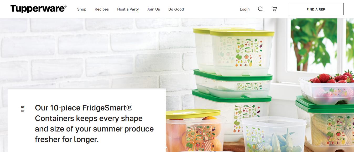 Tupperware homepage