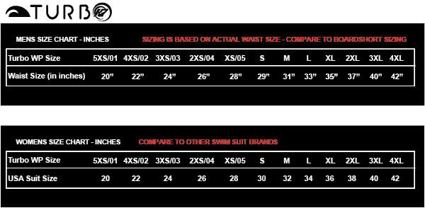 Swim Suit Sizing Chart