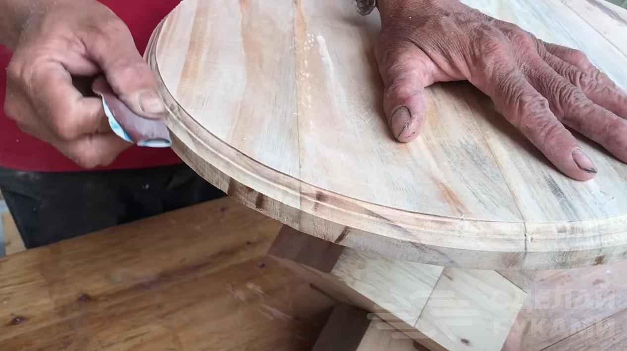 Сборка круглого стола - шлифовка деталей