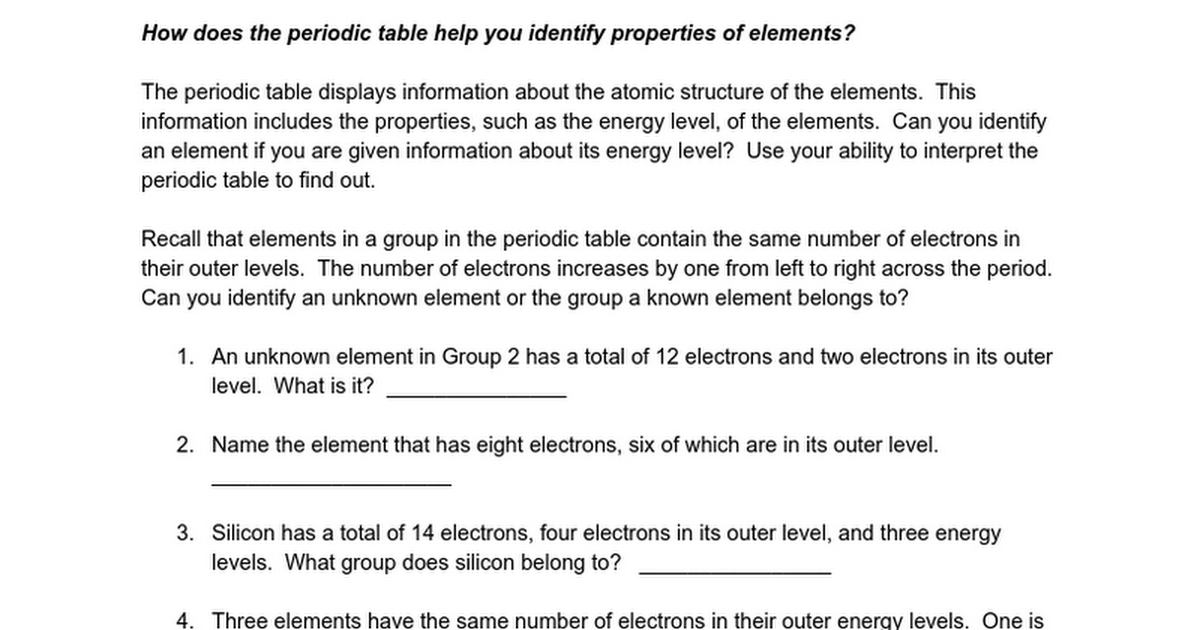 Using The Periodic Table 2 Google Docs