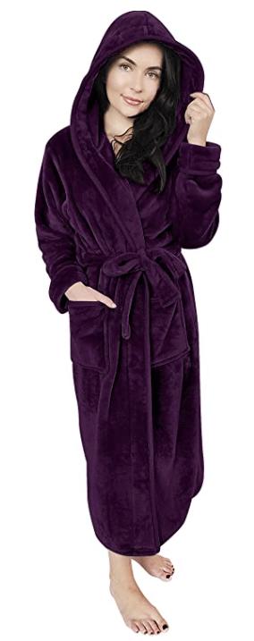 long hooded bathrobe for women