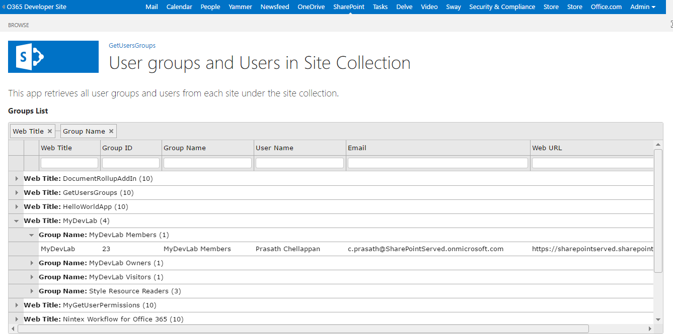 Get all user groups and users from site collection