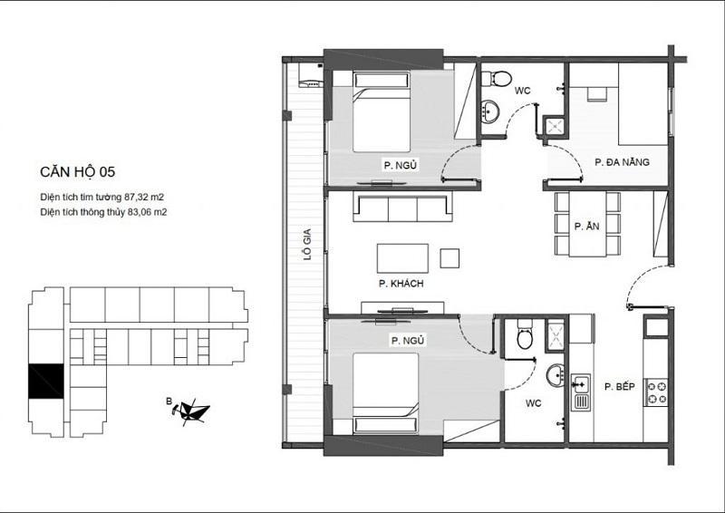 Thiết kế căn hộ 2 PN (2WC) chung cư An Bình Plaza ( căn hộ thông thường với 1 logia lớn)