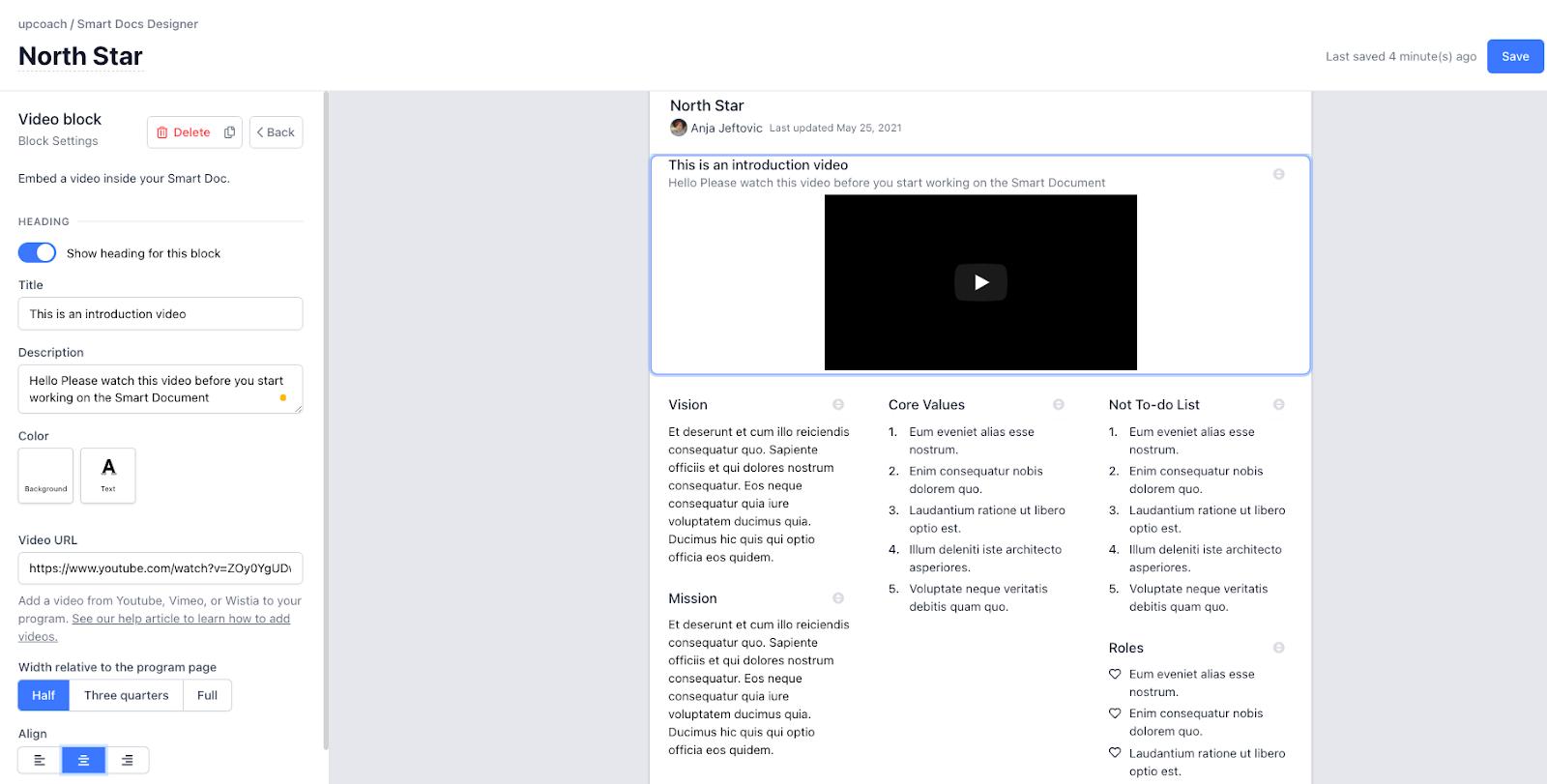 video block in smart docs